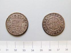 Silver piece of 2 reales of Ferdinad VI of Seville