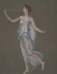 """Figure study for the figure of Fame(?) in """"The Reading of the Declaration of Independence,"""" study for mural for the state capitol building in Harrisburg, Pennsylvania, 1902-1911 (idea abandoned posthumously by Mrs. Abbey and John Singer Sargent)"""