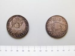 Silver 8 reales of Charles III of Spain, countermarked by George III of England