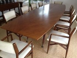Dining table and set of twelve chairs