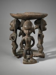Stool Supported by Four Male and Female Figures Figures