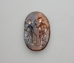 Carved Intaglio Gemstone with standing figures of Hermes and Fortuna
