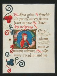 Initial O, Illuminated Manuscript page from a Book of Hours