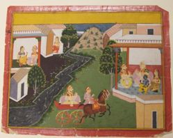 Krishna and His Cousin Akrur Visit the Pandavas, from a History of the Lord (Bhagavata Purana) manuscript
