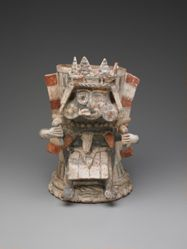 Brazier in the Shape of a Figure with Split Tlaloc Mask and Maize