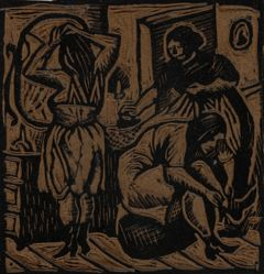 Linoleum block for Dressing Room, or Three Women