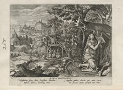 Mary Magdalen, one of 24 prints from the series Solitudo Sive Vitae Foeminarum Anachoritarum (Female Hermits in Landscapes)