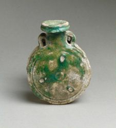 Small two-handled green-glazed flask