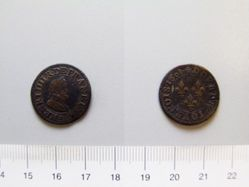 Copper double tournois of Henry IV from Paris