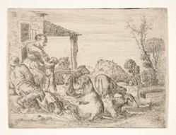 Untitled (Peasant family with dogs and lambs in a landscape)