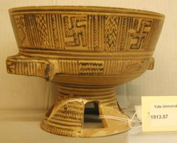 Standed bowl with open-ring work vase