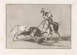 El Cid Campeador lanceando otro toro (The Cid Campeador Spearing Another Bull), Plate 11 from La tauromaquia