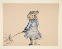 Girl Pulling Wagon (Plain Girl in Blue Dress) (recto); Sketch of a Man (verso)