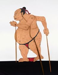 Shadow Puppet (Wayang Kulit) of a Sumo Wrestler or Sumotori
