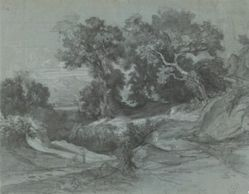 Landscape with Trees, Two Figures on a Road, and Mountains in Background