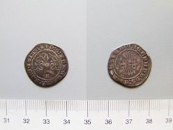 Silver quarter real of Ferdinand II and Isabella