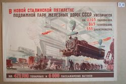 V novoi stalinskoi piatiletke podvizhnoi park zheleznykh dorog SSR uvelichit'sia (With Stalin's new Five-Year Plan, the rolling stock of railways in the USSR will increase