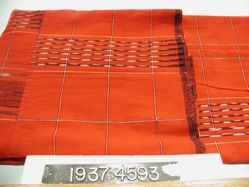 Skirt length, plain cloth with ikat dyed stripes