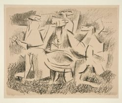 Three Farming Figures and Three Horses