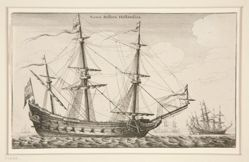 Dutch Warship, from Navium varie figurae, number six of a series of twelve etchings of Dutch ships