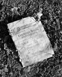Child's book abandoned at roadside camp after forced removal of its people, Weenen
