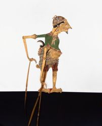 Shadow Puppet (Wayang Kulit) of Cekel Indraloyo or Arjuno Jadi Cantrik, from the consecrated set Kyai Nugroho