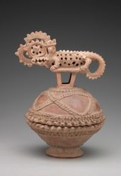 Vessel and Lid with Fantastic Reptile