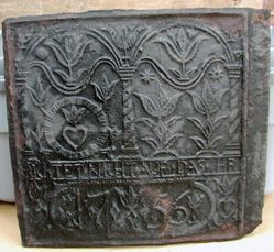 """Stove plate, """"Judge Not That Ye Be Not Judged"""""""