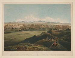 Ansicht der Rocky Mountains. Vue des Montagnes Rocheuses (View of the Rocky Mountains), from the book Maximilian, Prince of Wied's, Travels in the Interior of North America (London: Ackermann & Co., 1841)