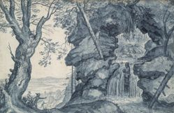 Rocky Landscape with Waterfall and Hunters