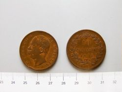 Copper 10 Centesimi piece of Umberto I