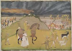 Hunting scene with Emperor Ahmad Shah