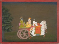 Krishna Rushes to Save Rukmini, from a History of the Lord (Bhagavata Purana) manuscript