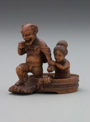 Fujin, the God of Wind, Emerging from the Bath with a Woman