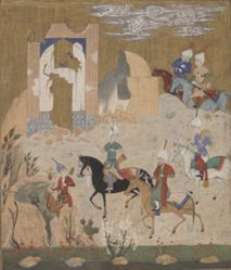 Nishirvan and the Owls, from a manuscript of Nizami's Makhazan al-Asrar