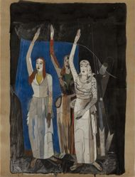 Three Women Giving Oath, study for a mural commemorating the return of Schneidemuhl to the German nation ; figures