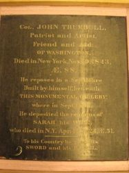 Col. John and Sarah Trumbull tomb wall plaque