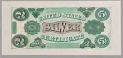 2/5 Dollar Silver Certificate Composite Essay Back Proof of the Excelsior Bank Note Company from the United States