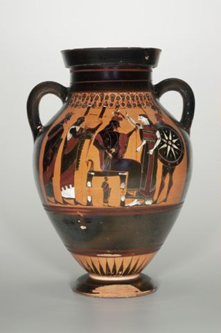 Black-Figure Amphora; A: Birth of Athena; B: Frontal Chariot