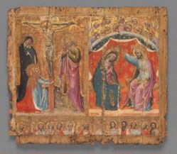 Small altarpiece showing the Crucifixion, the Coronation of the Virgin Mary, and  Christ and the Apostles