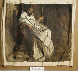 Sir Galahad Series, sketch. Seated man in white robe. King for Benediction.