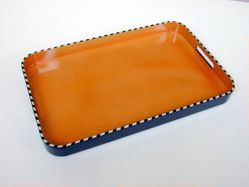 "Pair of trays, ""Drum Papaya"" pattern"