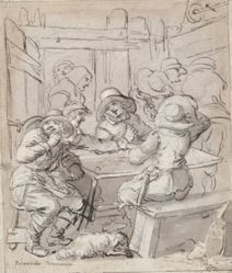 Merry Christmas (recto); Woman and Soldier Seated at Table (verso)