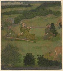 Emperor Aurangzeb shooting nilgais