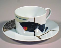"Cup and Saucer, ""Seconds"" Pattern, one of four"