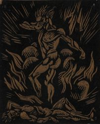 Linoleum block for Cain and Abel