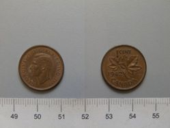 1 Cent from Ottawa with George VI, King of Great Britain