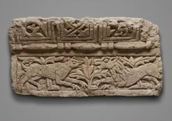 Relief fragment of confronting beasts
