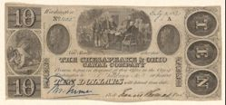 """Bank Note for $10 issued by The Chesapeake and Ohio Company with vignette proof of Trumbull's """"Signing of the Declaration of Independance."""""""
