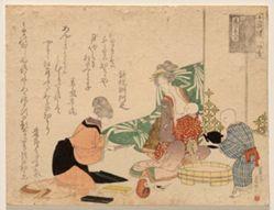 First Childbirth (Uizan), from the series Marriage of the Mouse, No. 11 of the Series Twelve Sheets (Jūnimai tsuzuki: Nezumi no yomeiri, jūichi)